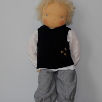 Waldorf doll boy inn black pullunder, blond hair, made by feinslieb