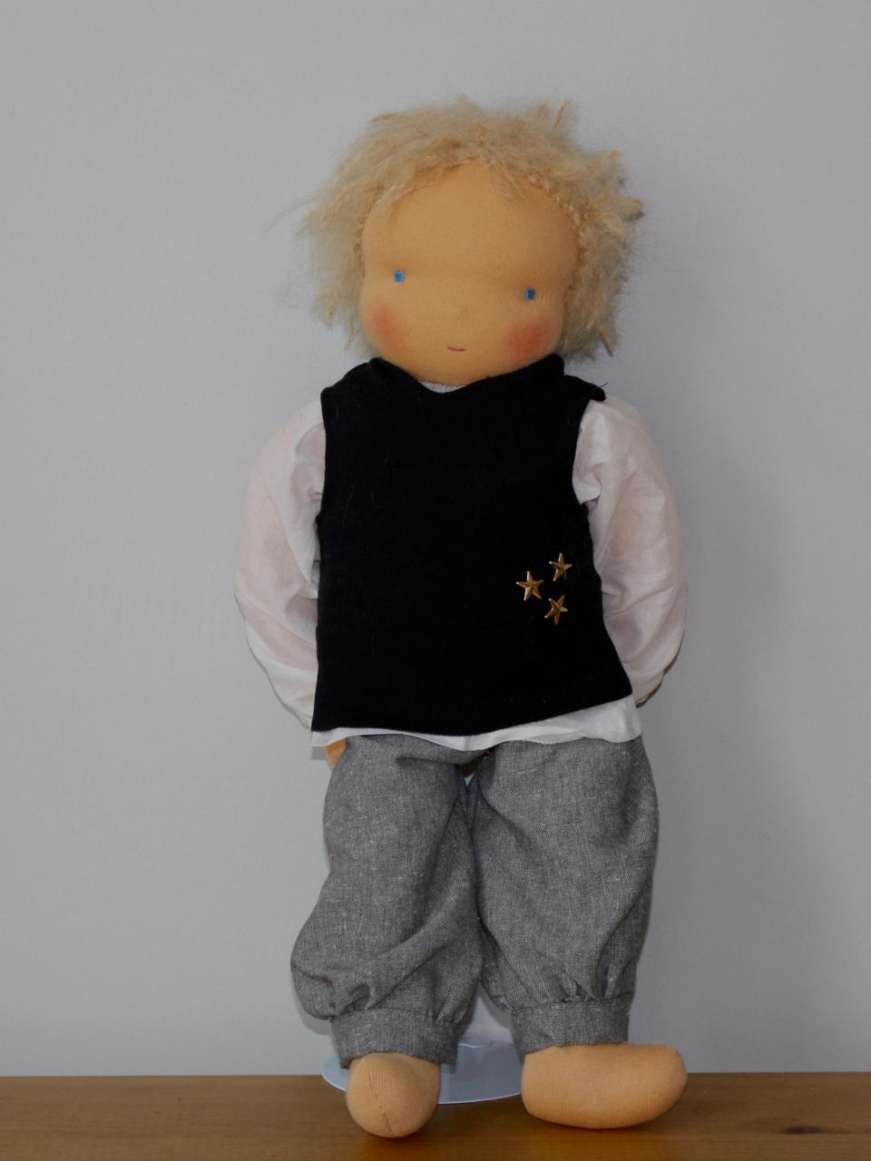 Waldorf doll boy inn black pullunder, blond hair, made by feinslieb