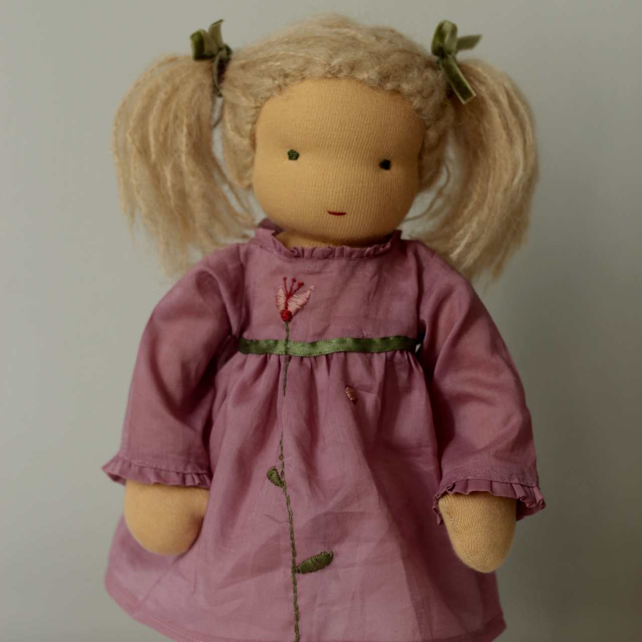 Waldorf doll girl in pink dresss, blond hair, made by feinslieb