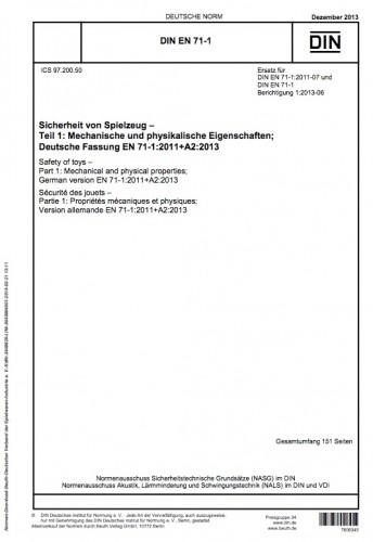 Die Titelseite der DIN_EN_71-1 über mechanische und physikalische Eigenschaften