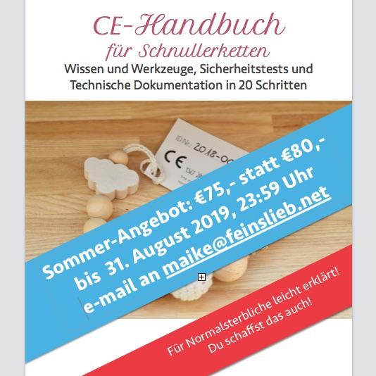 Sommer-Angebot: CE-Handbuch für Schnullerketten für €75 statt €80, bis zum 31. August 2019 Mitternacht.