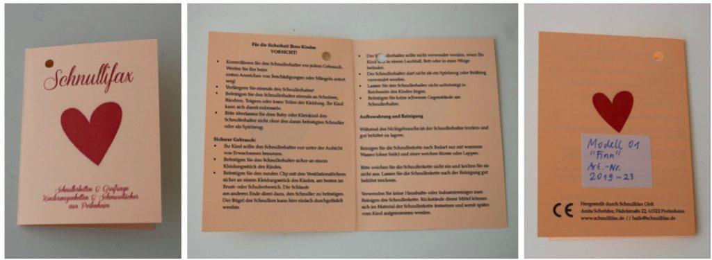 dreigeteiltes Bild mit dem Beipackzettel Vorderseite, Innenteil und Rückseite. Innen die Textvorlage mit den Warnhinweise Schnullerkette, alle anderen Infos vorne und hinten.