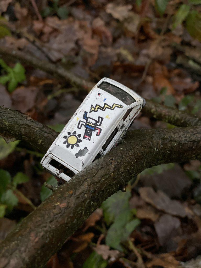 Matchbox-Auto auf Zweigen im Wald