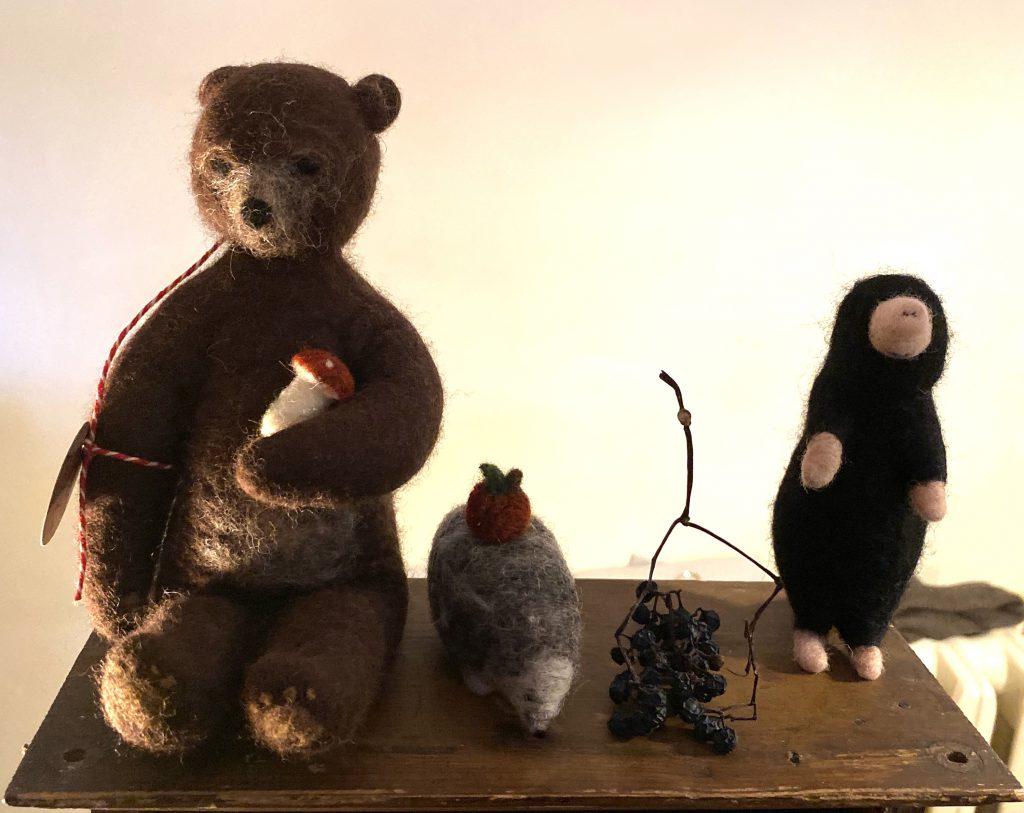 Filzfiguren: Bär, Igel und Maulwurf