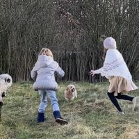 Zwei Kinder von hinter spielen mit Hund auf Winterlicher Wiese