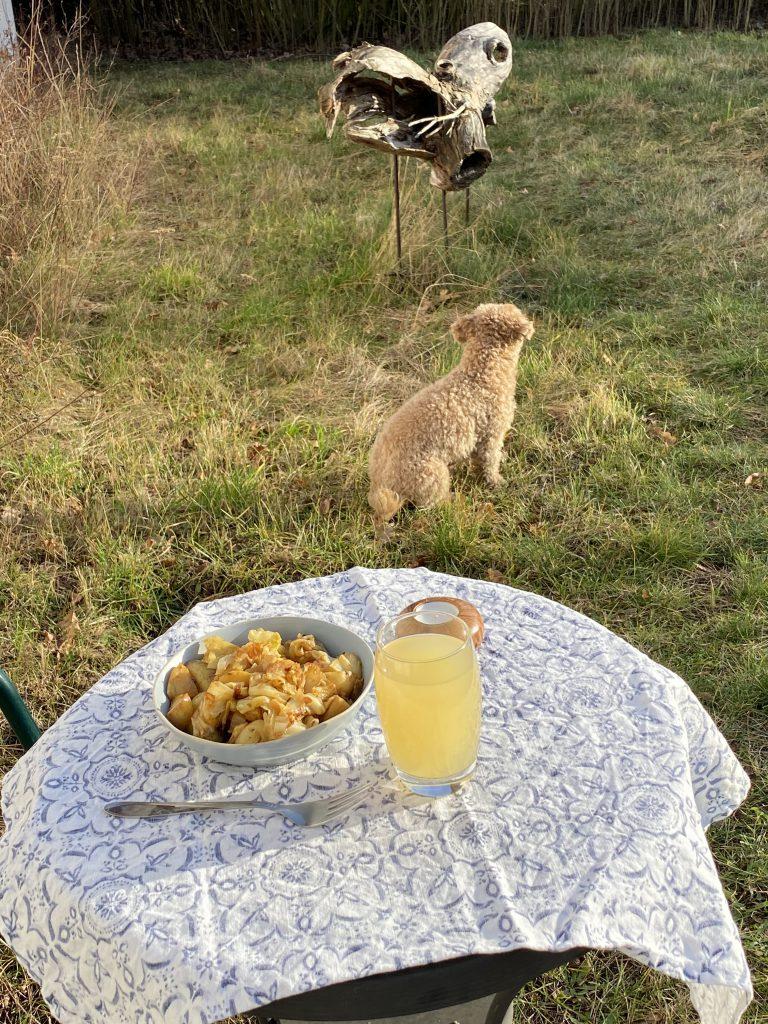 Teller mit Kartoffelpfanne, Gabel und Glas auf Tisch in der Sonne, dahinter Hund und Holzskulptur