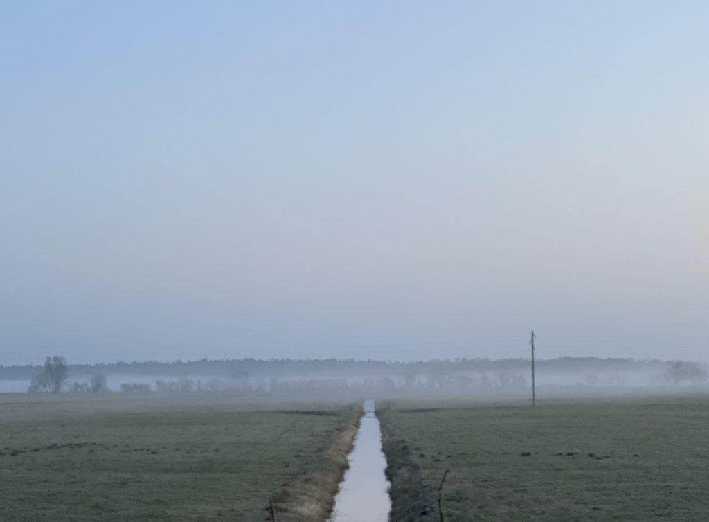 Wassergraben auf Feld im Januar, im Hintergrund Bodennebel