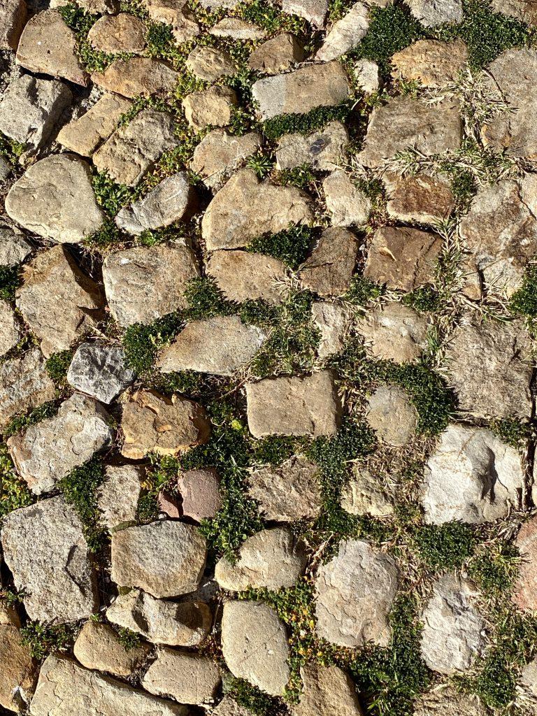 unregelmäßige alte Pflastersteine auf Boden mit Gras dazwischen