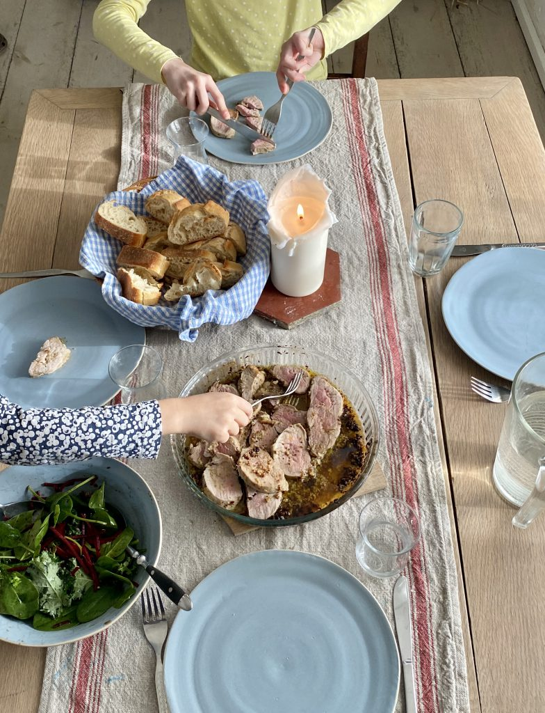 Mittagessen-Tisch von oben