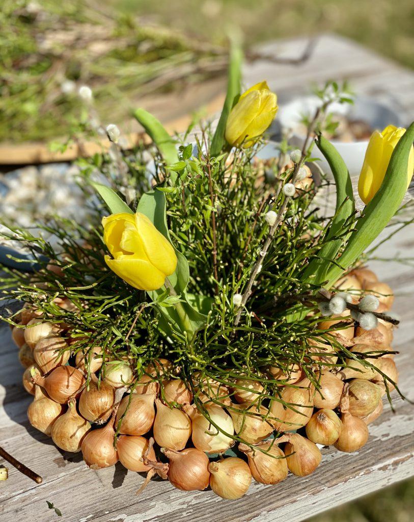 Dekoration mit Steckzwiebeln: dicker Kranz mit gelben Steckzwiebeln, Blaubeerkraut, Weidenkätzchen und gelben Tulpen