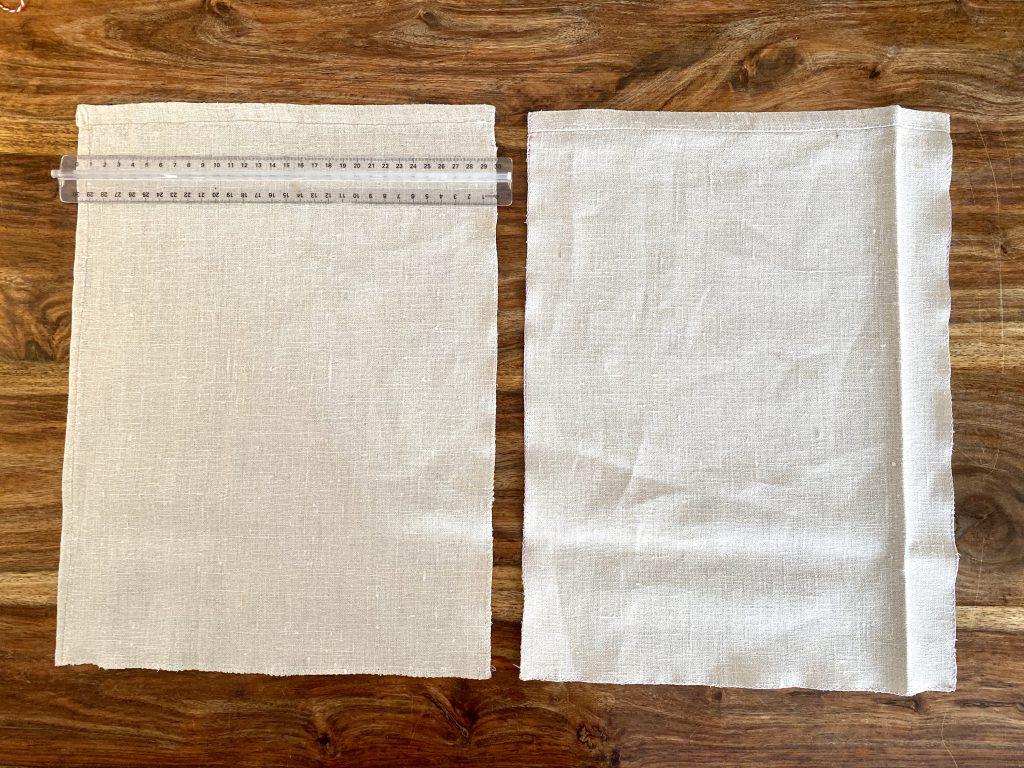 Zuschnitt für Brotbeutel aus Leinen: 2 Stücke Leinen à 30x40 cm