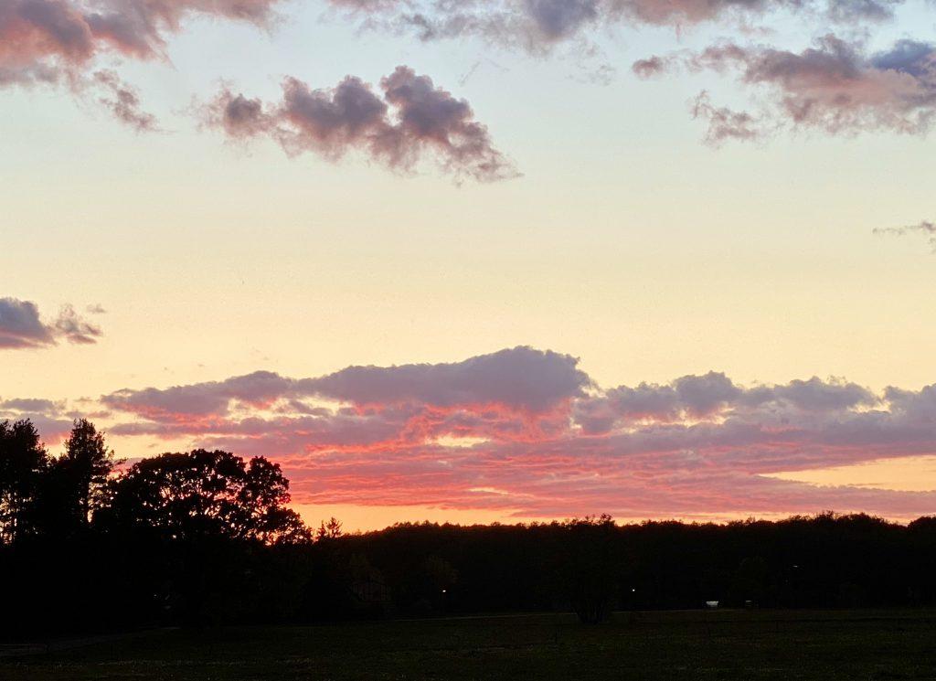 Der dritte meiner Glücksmomente der Woche: Der Himmel glüht in Gelb- und Rosatönen
