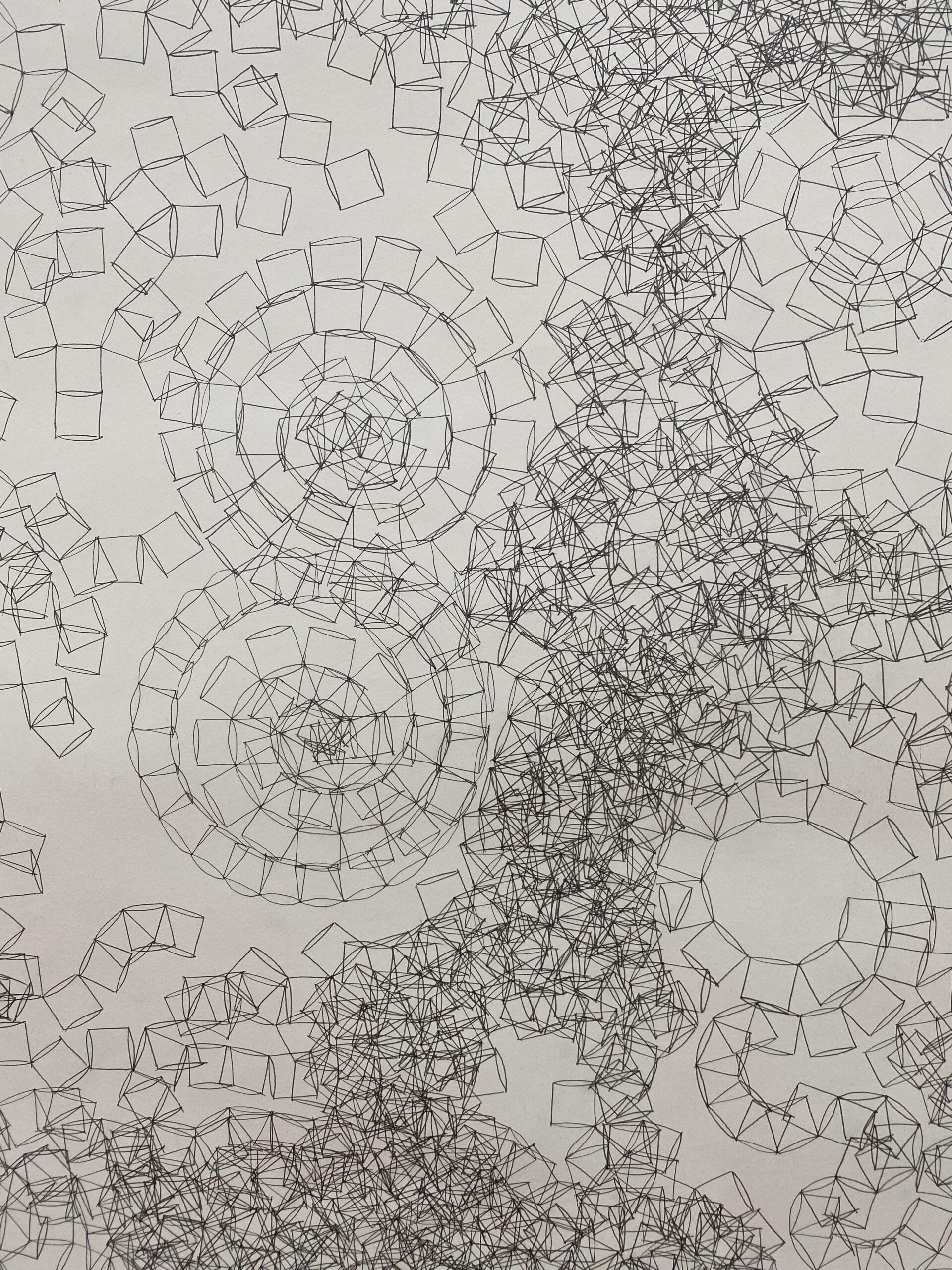 Glücksmomente der Woche vom 28. Mai bis 3. Juni 2020 - Detail von einem Bild von Kamilla Szij (mit Bleistift gezeichnete Formen auf Papier)