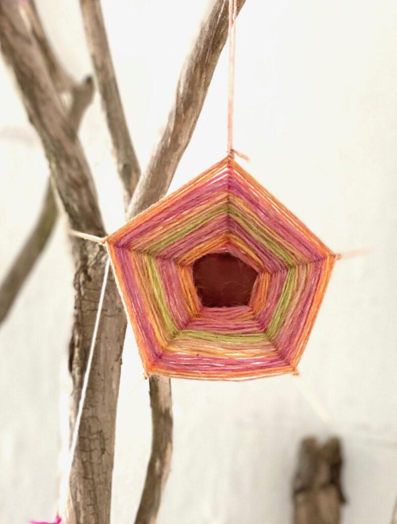 Ein Kastanien-Spinnennetz an einem Baumzweig, stehend