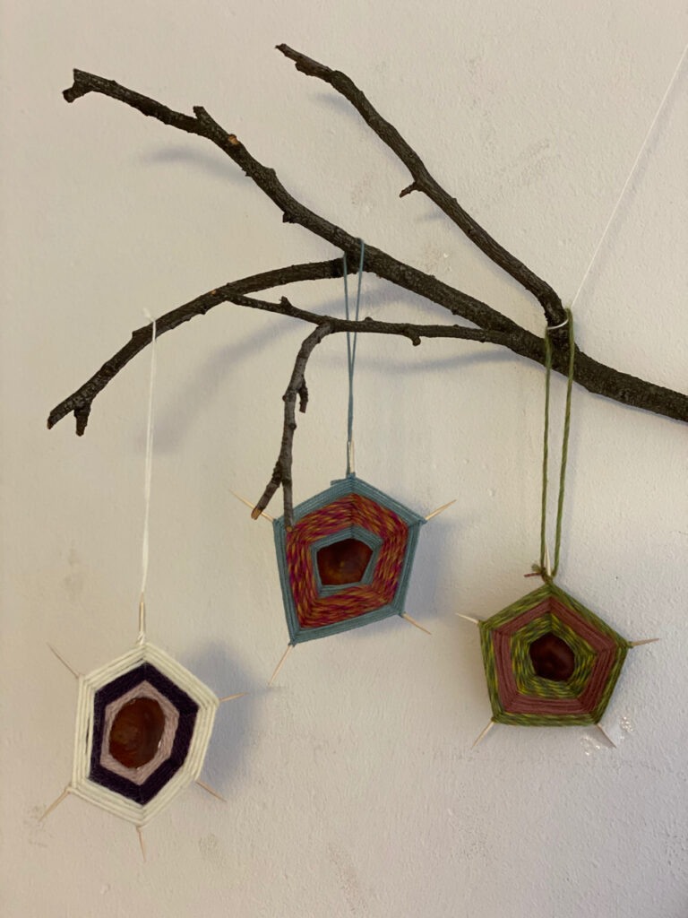 3 Kastanien-Spinnennetze an einem Zweig an der Wand