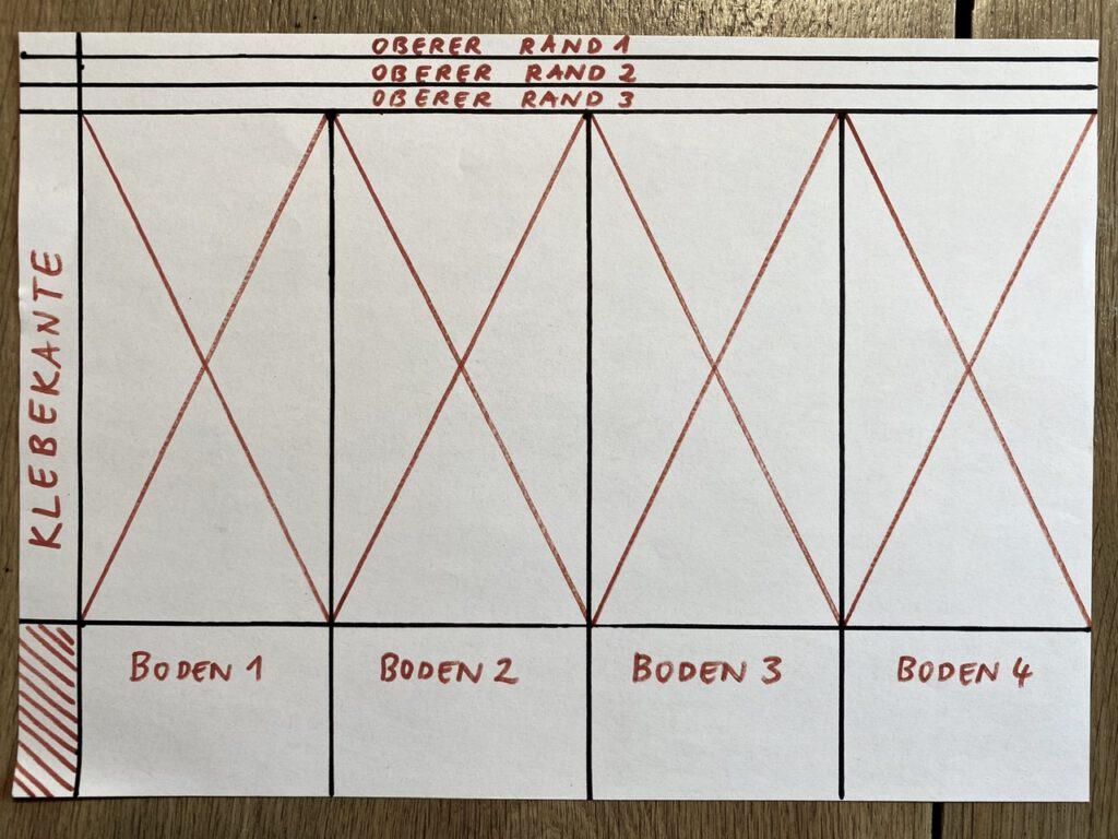 Waldorf-Laterne basteln Schritt 2, Falzschema Typus B mit Diagonalen