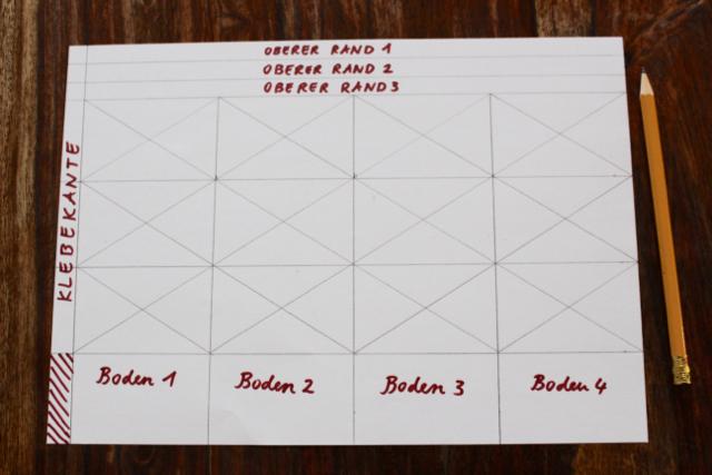 Waldorf-Laterne, Schritt 2: Faltschema für Laterne Typ A