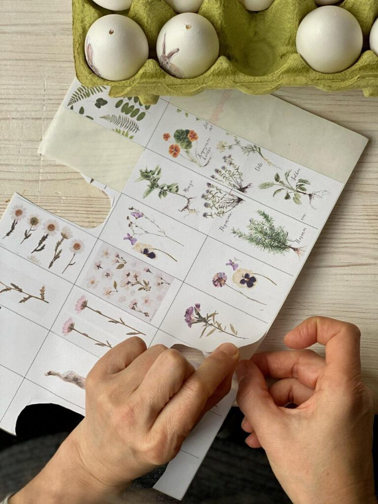 Ostereier mit Blumen verzieren: Etikett abziehen