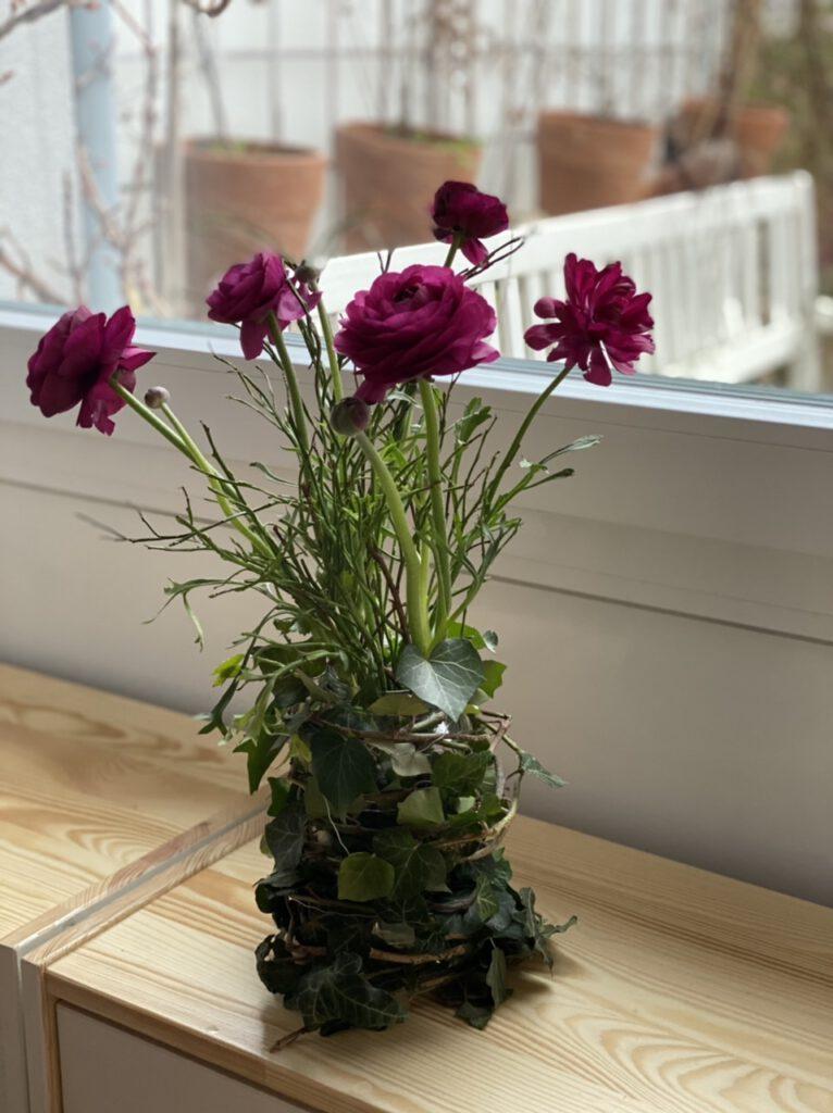 Ranunkel - Blumen als Geschenk verpacken: Hier z.B. mit Blaubeergrün in einem Einmachglas, das mit Efeu-Zweigen umwickelt wurde