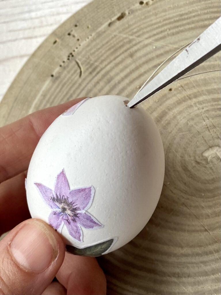 Hölzchen mit Scherenspitze vorsichtig ins Ei schieben