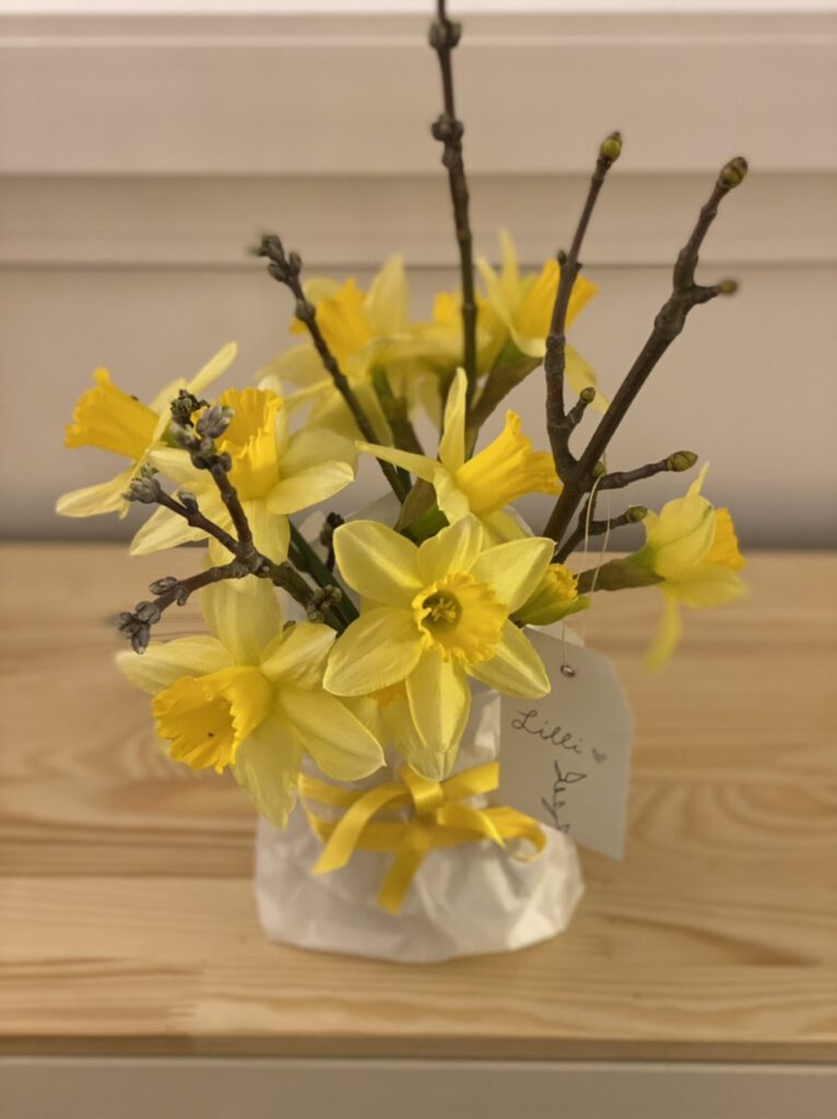 """Selbst verpackte Blumen: Gelbe Narzissen, aufgeblüht, mit Obstbaumzweigen mit Knoten, in Papiertüte stehend, mit langer Schleife aus gelbem Satin und weißem Etikett mit Aufschrift """"Lilli"""""""