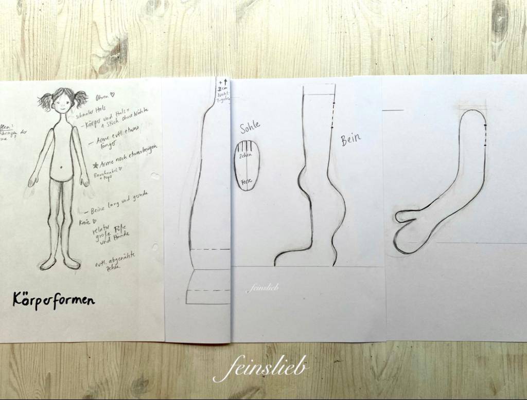 Aufgezeichnetes Schnittmuster (Körper, Bein und Arm)